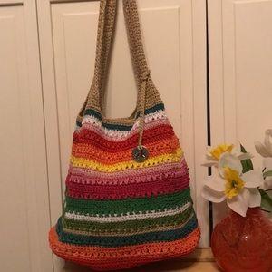 The Sak Stripe  Chrochet  Shoulder Bag NWOT